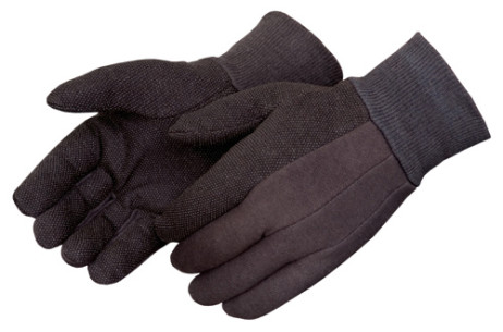 PVC-Dot-Coated Brown Jersey Glove