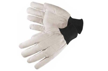 Knit Wrist White Canvas Glove