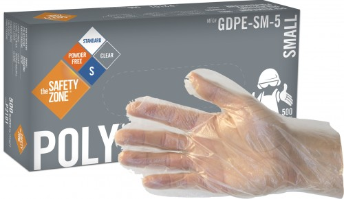 DISPOSABLE LARGE POLY GLOVES 500//BOX FOOD SERVICE CLEAR